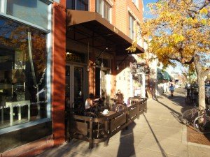 The Laughing Goat, Coffee shop, Boulder, as the western sun bathes the Pearl street location