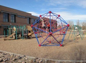 Playground. In the foregound is a neat structure called the Web. It looks like a geodesic climbing structure.