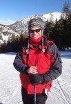 Bob Gordon in a red ski jacket,