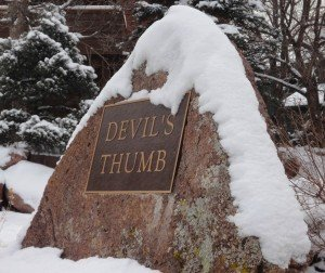 devils thumb monument covered in snow