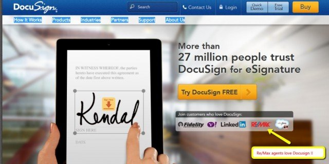 Boulder Real Estate News presents the opening screen shot of DocuSign, an electronic signature service widely used in real estate transactions.