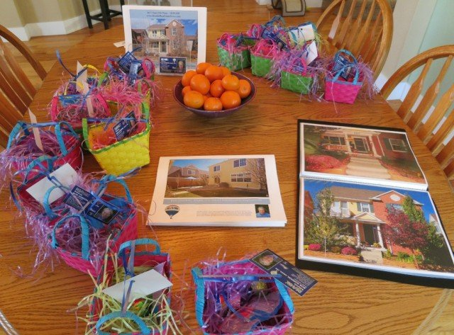 Information sheets, photo book, easter give away baskets for an open house