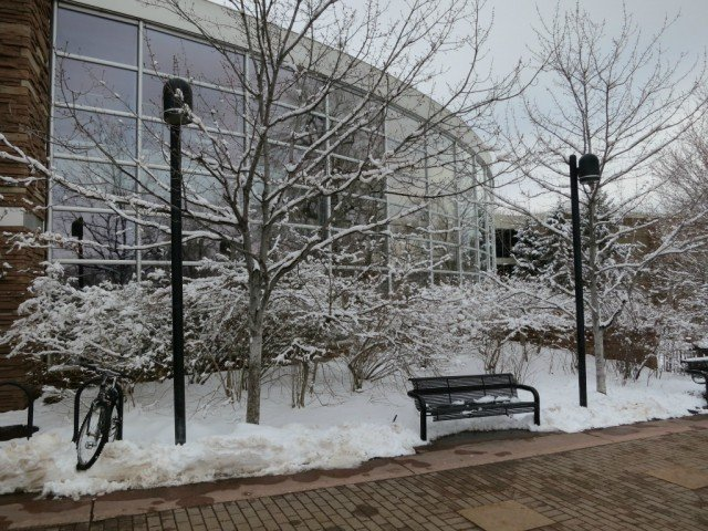 Boulder Public Library on a snowy day