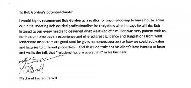 matt carroll and lauren caroll write bob gordon client testimonial in their own words