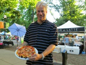 Bob Gordon dining at Boulder farmers market