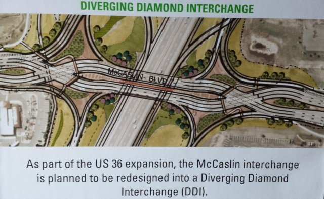 Louisville Superior Diverging Diamond at McCaslin Boulevard and Hwy 36