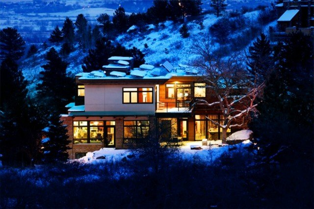 Edge house boulder colorado on a snowy night