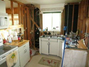 kitchen torn down to studs in midst of fha 203k financed home purchase