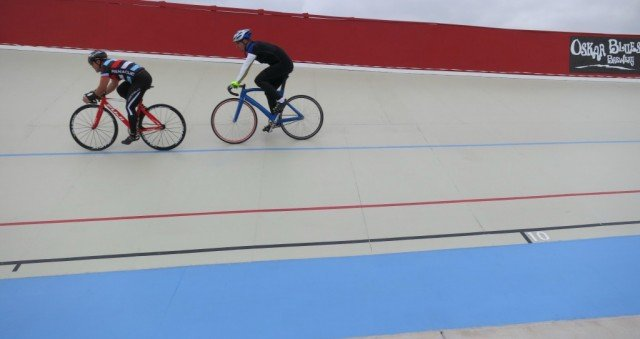 rick and brint riding boulder velodrome