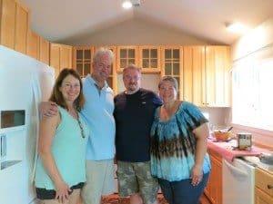 pictured, julie, bob gordon, charlie deremer, nicole deremer. visitors during our kitchen remodel using thrifted cabinets