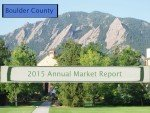 boulder flatirons in background, words 2015 annual report and boulder county