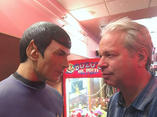 spock statue on left and realtor bob gordon staring eye to eye