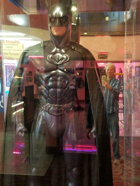 batman statue from pollack cinema and bob gordon in reflection
