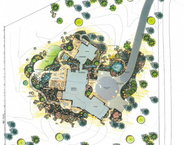 overhead color rendering of lot with house at 950 white hawk ranch