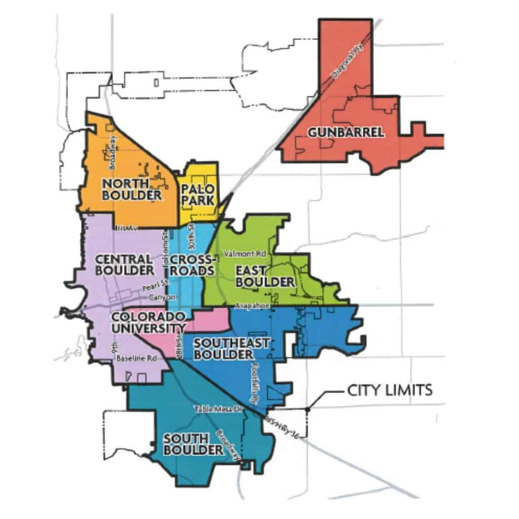 color coded boulder map search of neighborhoods hyperlinked to various communities