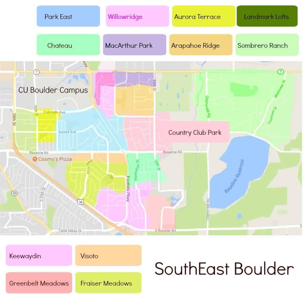 Map of neighborhoods in South East boulder