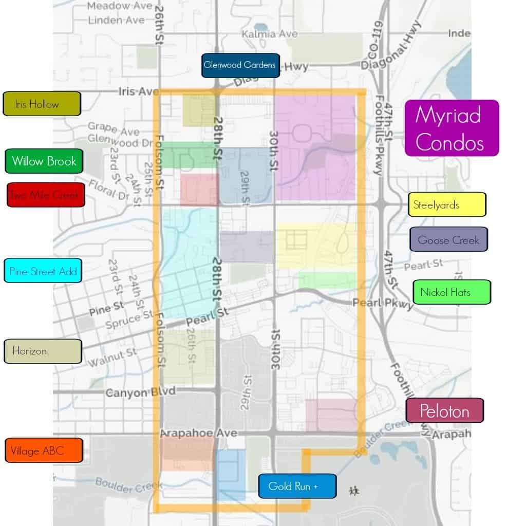 Map of the neighborhoods in CrossRoads of Boulder