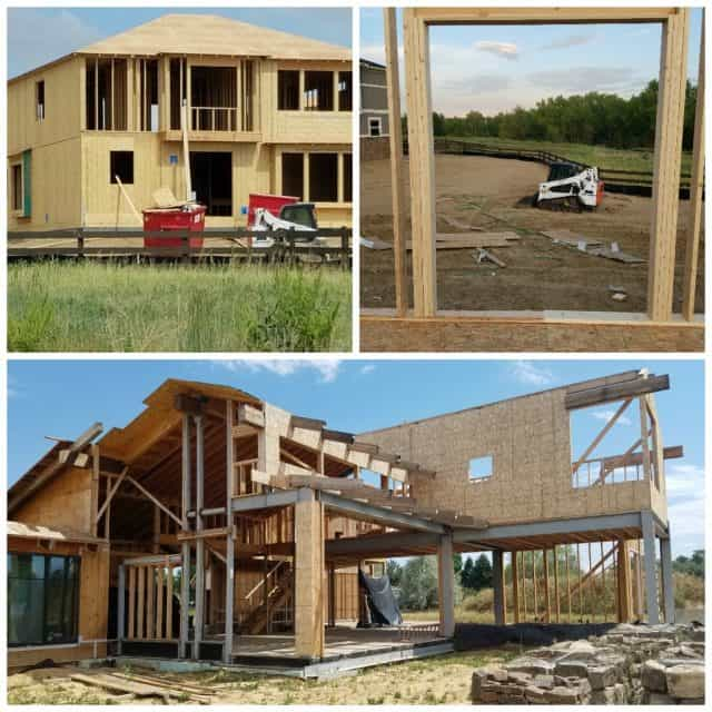 two new tract subdivision views of house under construction and 3rd photo of a fully custome home being built