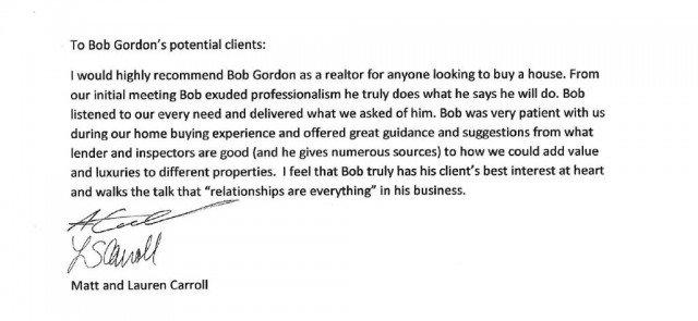 matt carroll and lauren caroll write bob gordon client testimonial in their own words