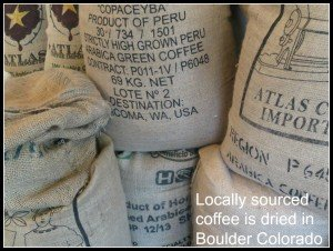 bags of raw or green coffee beans
