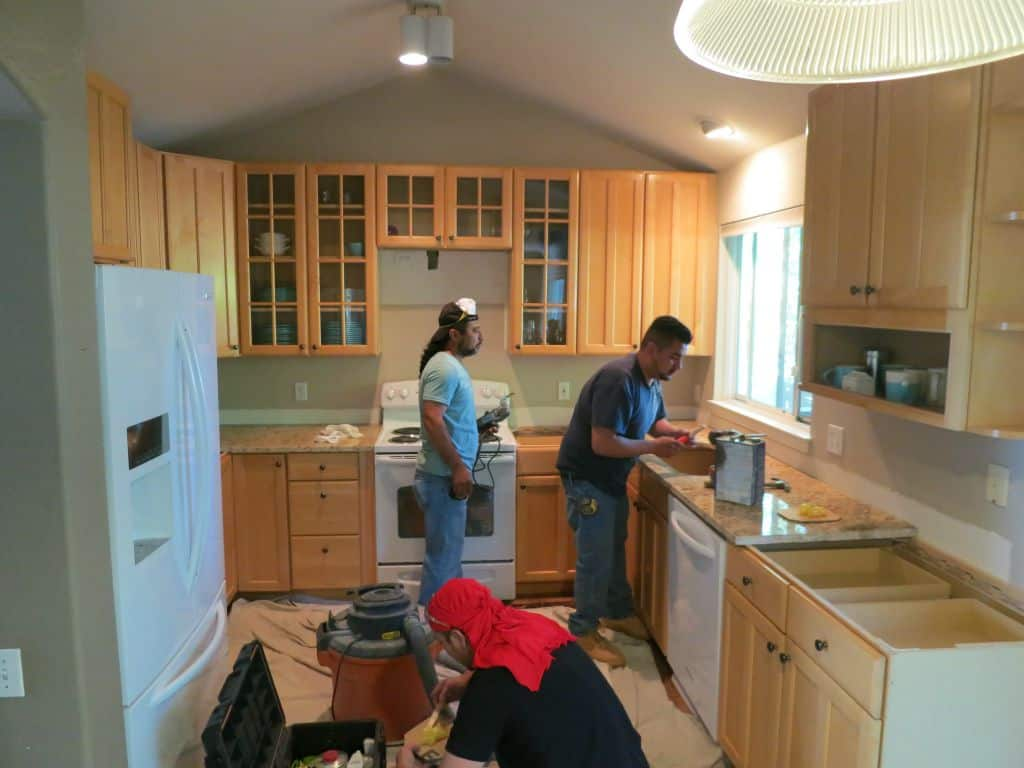 Granite Installation During Our Kitchen Remodel Using Thrifted Cabinets And  Slab Granite