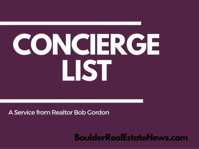 concierge list by bob gordon graphic with boulderrealestatenews.com website in bottom right corner