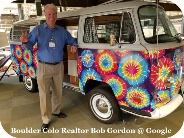 boulder colo realtor bob gordon alongside vw van at boulder google headquarters