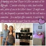 collage of asian client, kitchen and pink bed with note related to real estate negotiation
