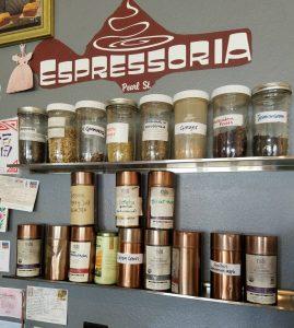 espressoria signage and selection of teas