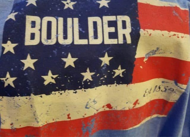 boulder written on a usa flag